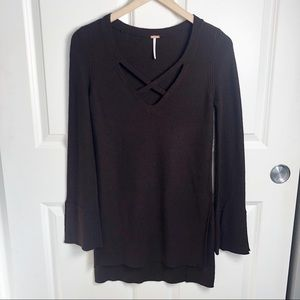 Free People NWT Criss Cross Neck Tunic Sweater XS